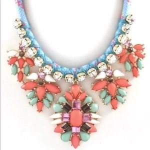Shourouk Styled Coral Crystal Statement Necklace